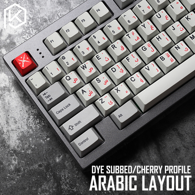 US $6 1  kprepublic 139 Arabic language root font letter Cherry profile Dye  Sub Keycap PBT for gh60 xd60 xd84 cospad tada68 87 104 fc660-in Keyboards