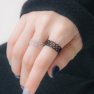 Lovely Women Hollow Flower Rings Cute Copper Girl Adjustable Rings Prom Wedding Night Party Jewelry