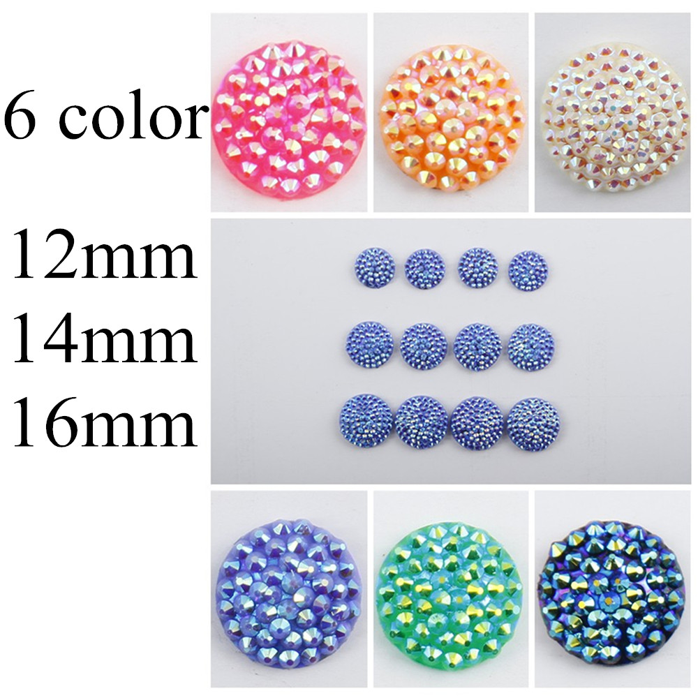6 stock color 12mm/14mm/16mm Hot Sale Kawaii Cute Resin Bling Round Flatback Cabochon Craft Embellishment Wall Stickers