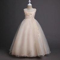 6 16 Years Girls Full Dress Tulle Formal Tutu Long Prom Princess Champagne Children Dresses Frocks