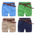4 Color Solid Children Boys Shorts 2016 High Quality Cotton Kids Shorts With Belt Boys Casual Short Pants Baby Summer Clothes