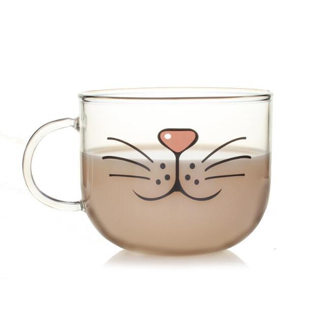 Neuheit Glas Tasse Katze Gesicht Tassen Kaffee Tee Milch Frühstück Becher Kreative Geschenke 540 ml