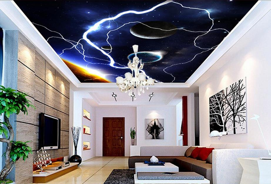 Sky Ceiling Wallpaper Photo Wallpaper For Kids Living room Bedroom Nonwoven Wallpaper 3D Ceiling Murals Wallpaper high definition sky blue sky ceiling murals landscape wallpaper living room bedroom 3d wallpaper for ceiling
