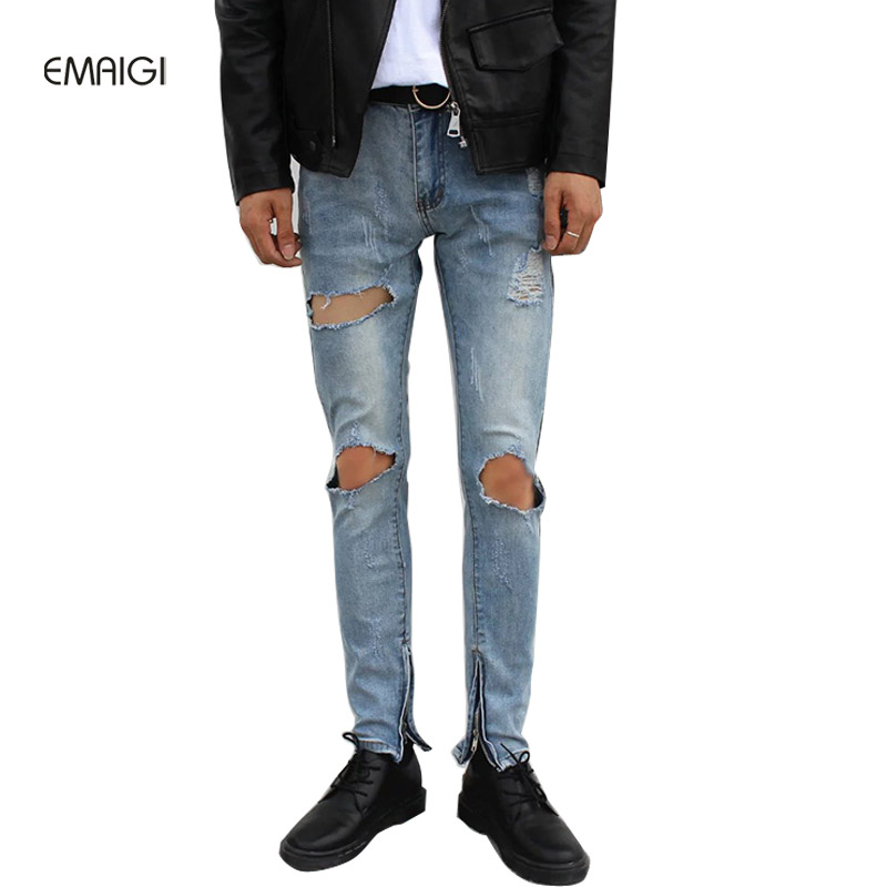 2017 New Hip Hop Men High Quality Destroyed Ripped Denim Jeans Male Fashion Casual Hole Denim Pant Slim Fit Trousers large size 29 42 young men jeans hole patchwork denim harem pant male fashion casual denim pant trousers