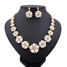 2015 New Imitation font b Pearl b font Necklace Beads18K Gold Plated Crystal Wedding Jewelry Sets