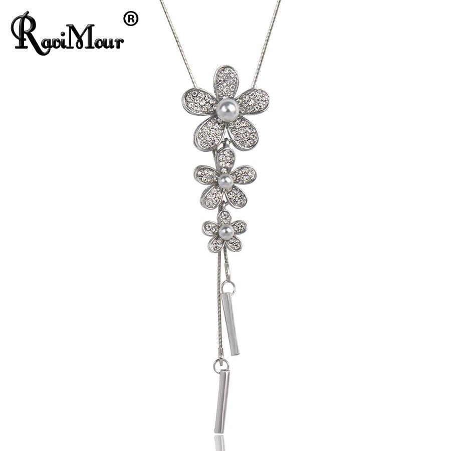 RAVIMOUR Lange Halsketten & Anhänger Silber Farbe Kette Nachgeahmt - Modeschmuck - Foto 3