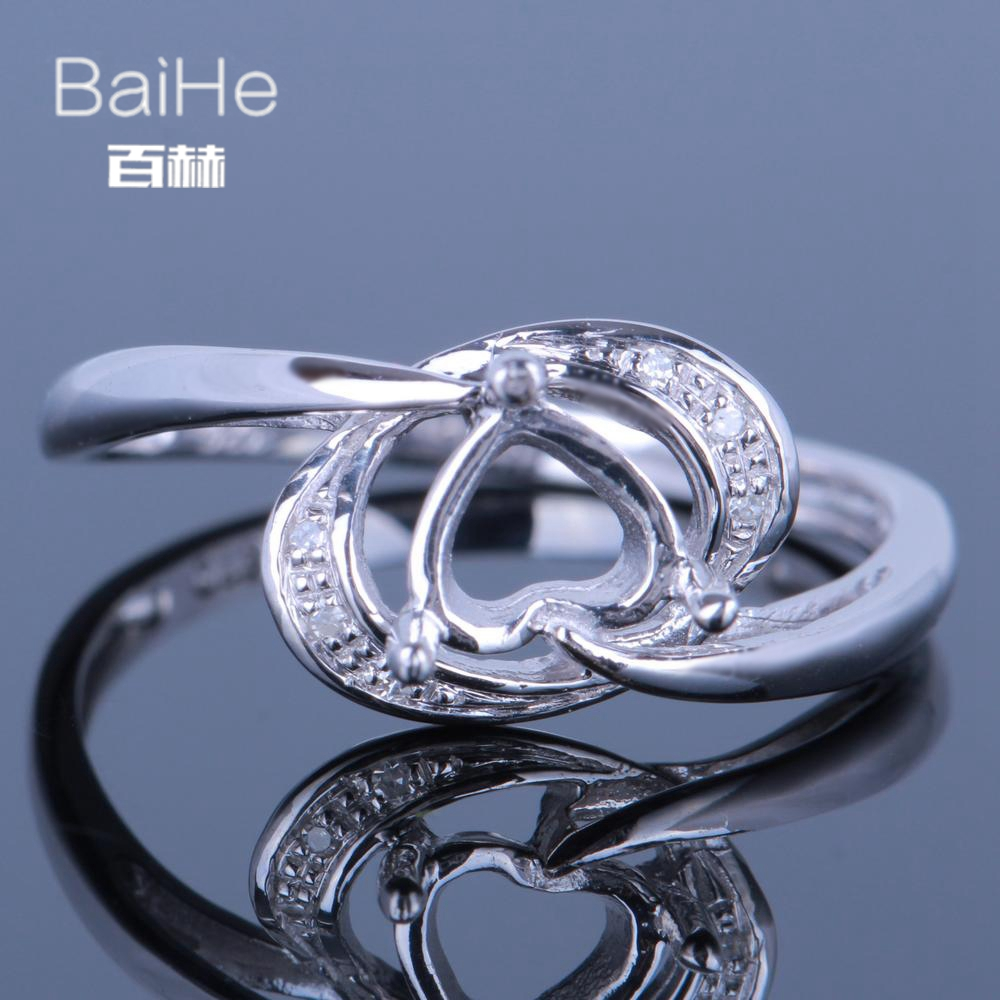 BAIHE Solid 14K White Gold(AU585) Certified Heart cut Wedding Women Cute/Romantic Fine Jewelry Elegant unique Semi Mount Ring   BAIHE Solid 14K White Gold(AU585) Certified Heart cut Wedding Women Cute/Romantic Fine Jewelry Elegant unique Semi Mount Ring