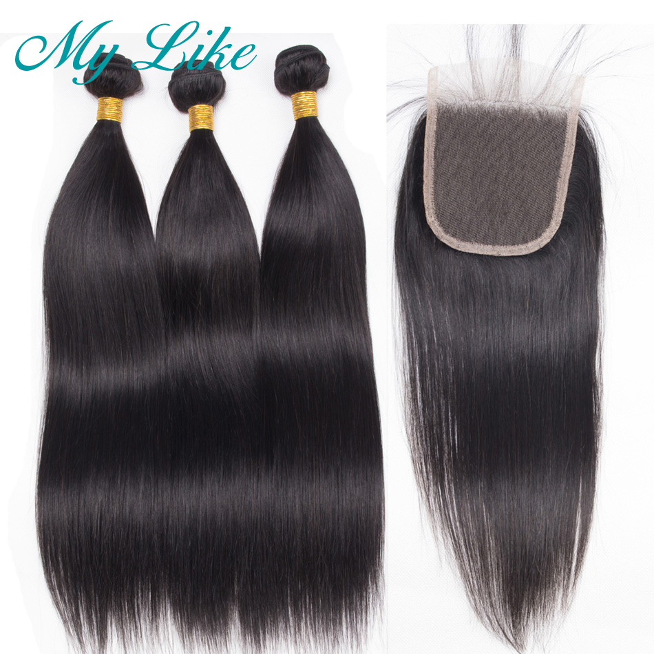 Hair Weaves Fashion Lady Pre-colored Raw Indian Hair Bundles Natural Color Human Hair Weave Straight Hair Bundles 3 Pieces Non-remy Hair Extensions & Wigs