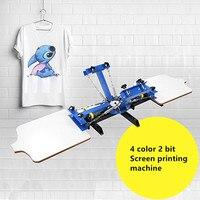 4 цвета 2 экран принтер ручная трафаретная печать футболки Одежда нетканые ткани трафаретная печать машина регулируемые устройства