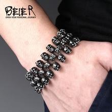 Beier прохладный уникальный тяжелый металл череп браслет из нержавеющей стали высокого качества байкер панк браслет bc8-008