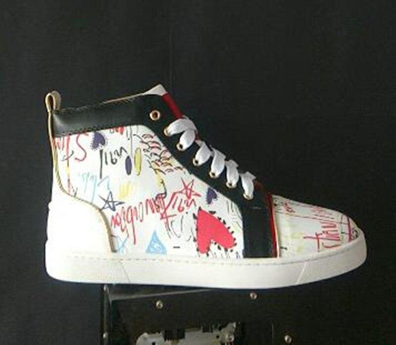 Libre Blanco 2018 Aire Hombres Al De Ocio Arriba Chentel Zapatos Caminar Picture Negro As Noble Los Cuero Moda Color Rojo Graffiti Para Nuevo Zapatillas w6wxPqr7R