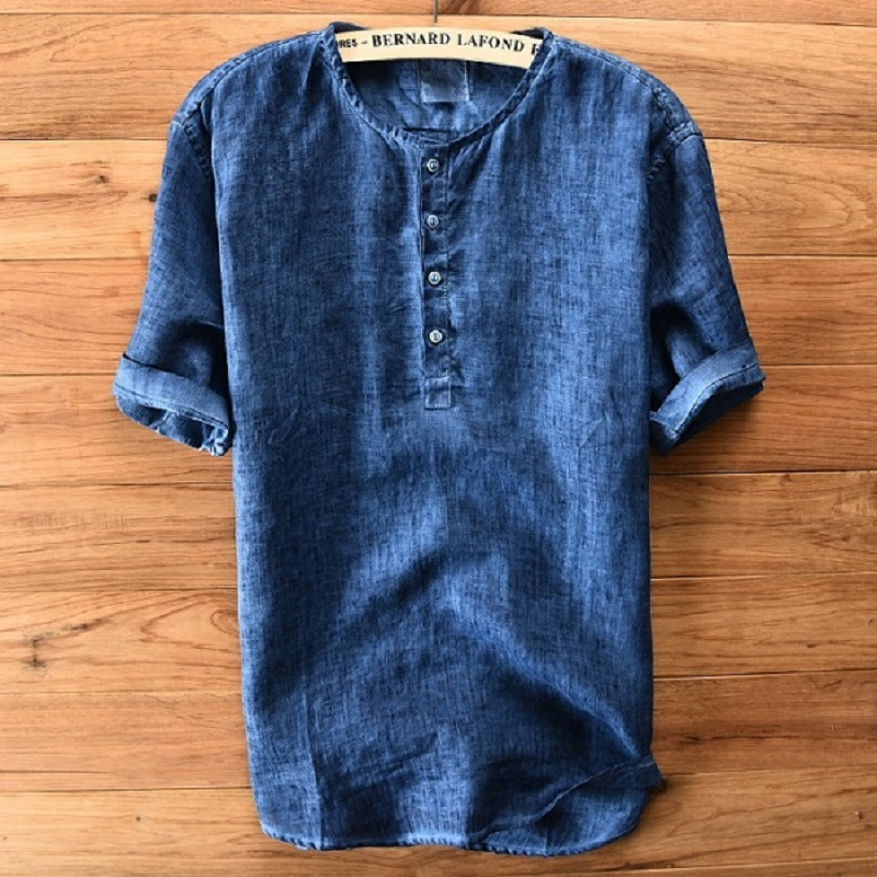 100%Linen Shirts Men Casual Short Sleeve Collarless Collar Shirt Solid White Gray Thin Section Y251