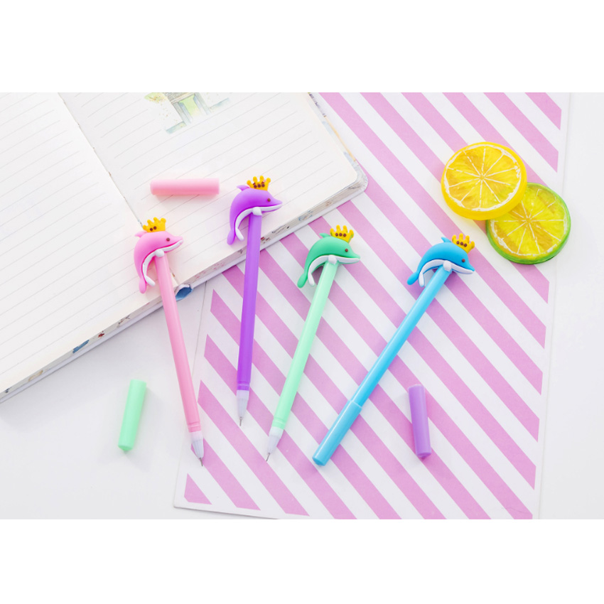 4pcs/lot Cute Crown Dolphin  Black Ink Gel Pen 0.5mm Cartoon Plastic Pens for Writing Office School Supplies Stationery