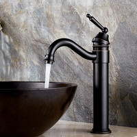 Bathroom copper faucet black ancient red edge rotating hot and cold faucet hotel B&B engineering retro basin faucet