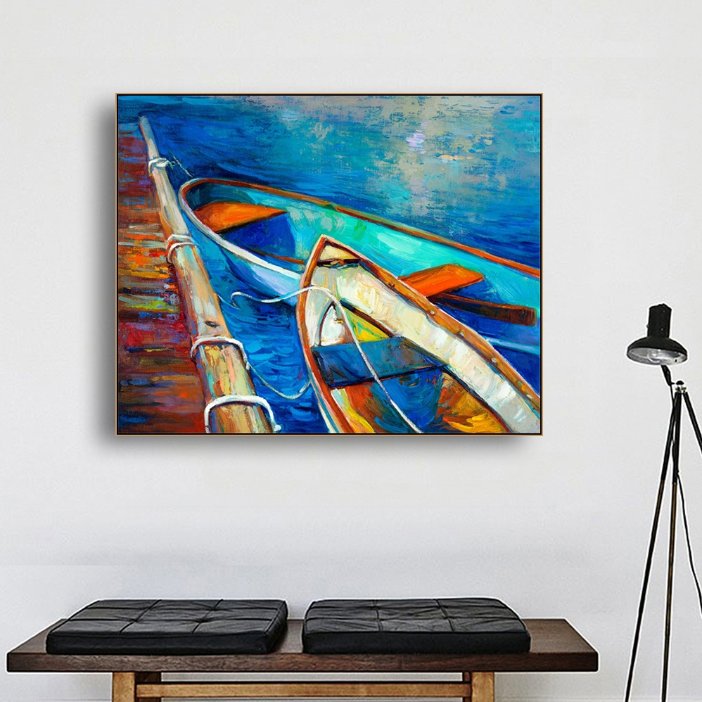 Laeacco Canvas Painting Calligraphy Abstract Watercolor Boats Sea Scene Posters Prints Wall Picture Kids Room Home Decoration in Painting Calligraphy from Home Garden