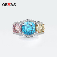 Luxury brand Pink Blue Yellow Colorful AAAAA+ Zircon Crystal Wedding rings for women Top quality 925 Sterling silver Jewelry