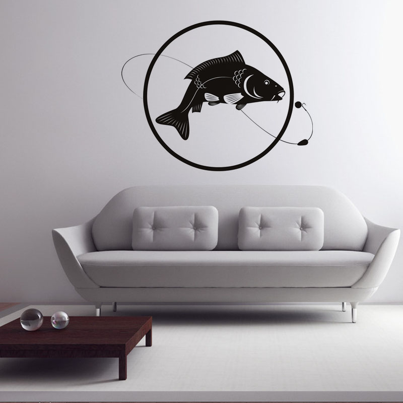 Fish Line Bait Fishing Wall Sticker Circle Home Decor Bedroom Wall Decor Vinyl Living Room Removable Wall Decals line art