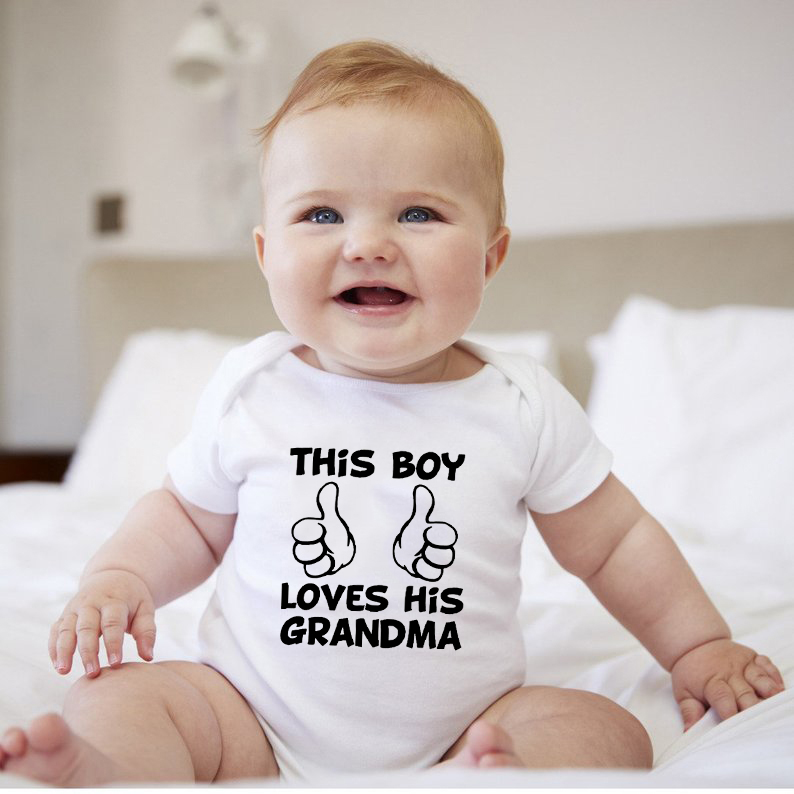 Newborn Infant Baby This Boy Loves His Grandma Short Sleeve Letters Bodysuit Casual Jumpsuit Kids Summer Cotton Clothes 0-24M