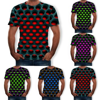 2021 Men's Summer New Style 3d Printed Short Sleeves Fashion Comfort Blouse Top Round Neck Tshirt Male Short Sleeve DAIGELO 1