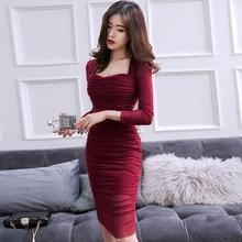 Alglam Doll 2018 Autumn Full Sleeve Wrinked Vestidos Bodycon Sexy Burgundy Club  Dress 65c3cb2d8
