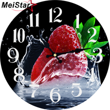 MEISTAR Vintage Round Clock Creative Strawberry Design Silent Living Corridor Kitchen Home Decor Watches Large Art Wall