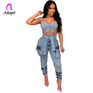 Image 2 - Hohe Taille Jeans für Frauen Schlank Stretch Denim Jean Bodycon Faux Hülse Gürtel Bandage Dünne Push Up Jeans High Street fracht Jeans