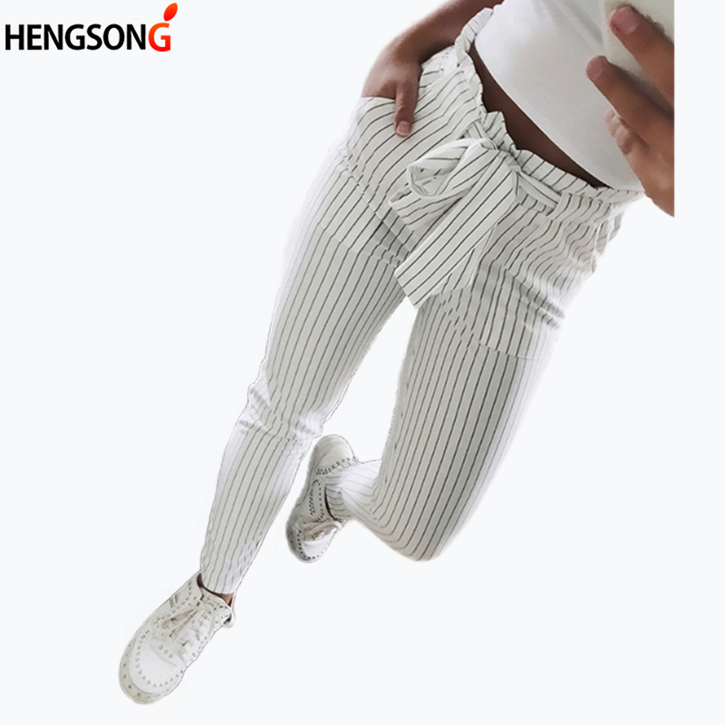 Striped OL High Waist Ankle-Length Pant Bow Tie Drawstring Striped Pants Pocket Women Pencil Pants Casual Pants Female Trouser