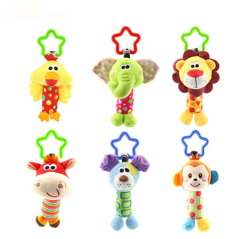Animal Stick Baby Rattles Baby Hand Holding Bells Toy Lathe Hang Puzzle Rattles Plush 0-2yeas old Toys for children