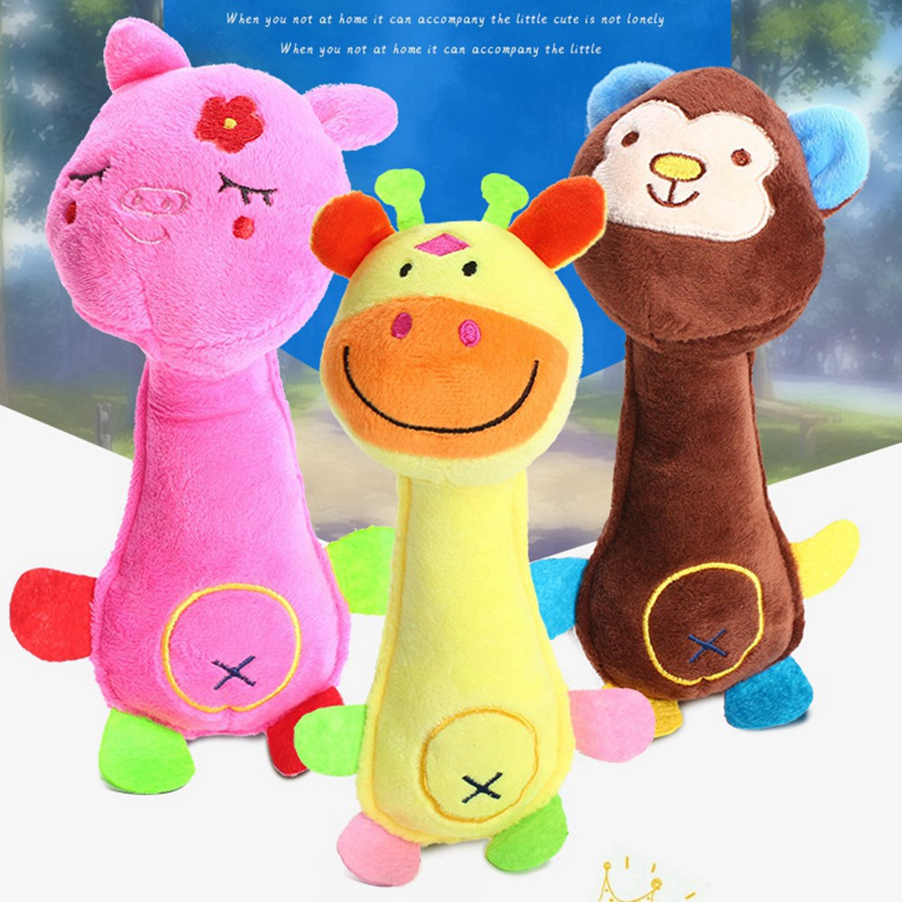 Cartoon Stuffed Toys for Dogs Pet Chew Toy Monkey Giraffe Pig Sound Toy Cute Animal Squeaky Toys for Fun Pet Dog Chewing Product