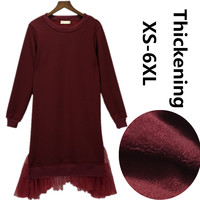 Plus Size New 2018 Autumn long Hoodies lace dress,patchwork velvet warm Winter Hoodies Sweatshirts,XS 5XL 6XL Long Sweatshirt