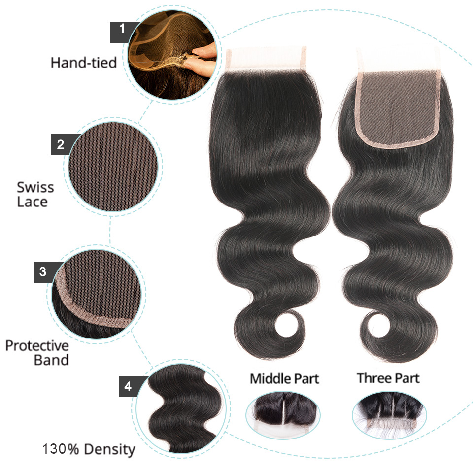 Joedir Indian Human Hair Bundles Med Closure Non Remy Body Wave 3 - Skønhed forsyning - Foto 4