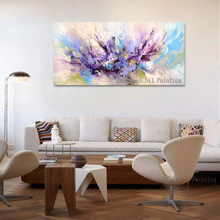 新デザイン手作り美しい色紫とピンクの油絵抽象アートワークのためのリビングルームの装飾 2019
