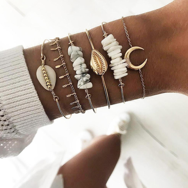 21 Style Women Fashion Moon Leaf Shell Cross Crystal Geometry Bracelet Set Boho Vintage Beach Jewelry Accessories Lover Gifts