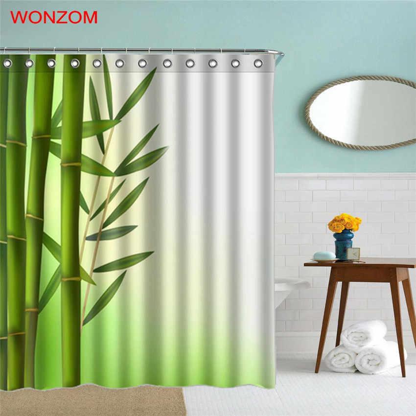 WONZOM 3D bambusa prysznic zasłony do łazienki wystrój nowoczesny krajobraz zasłona wanny z 12 hakami Mildewproof 2017 domu prezent