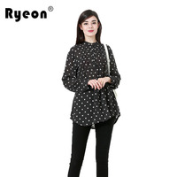 Ryeon Plus Size Women Blouse Shirt 2018 Spring Autumn Dot Print A Line Long Sleeve Chiffon