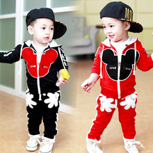 Children Boy Sets 2016 New Kids Clothes Girls Mickey Cartoon Children Clothing Sets Casual Coat + Pants 2pc Baby Boy Sport Suit