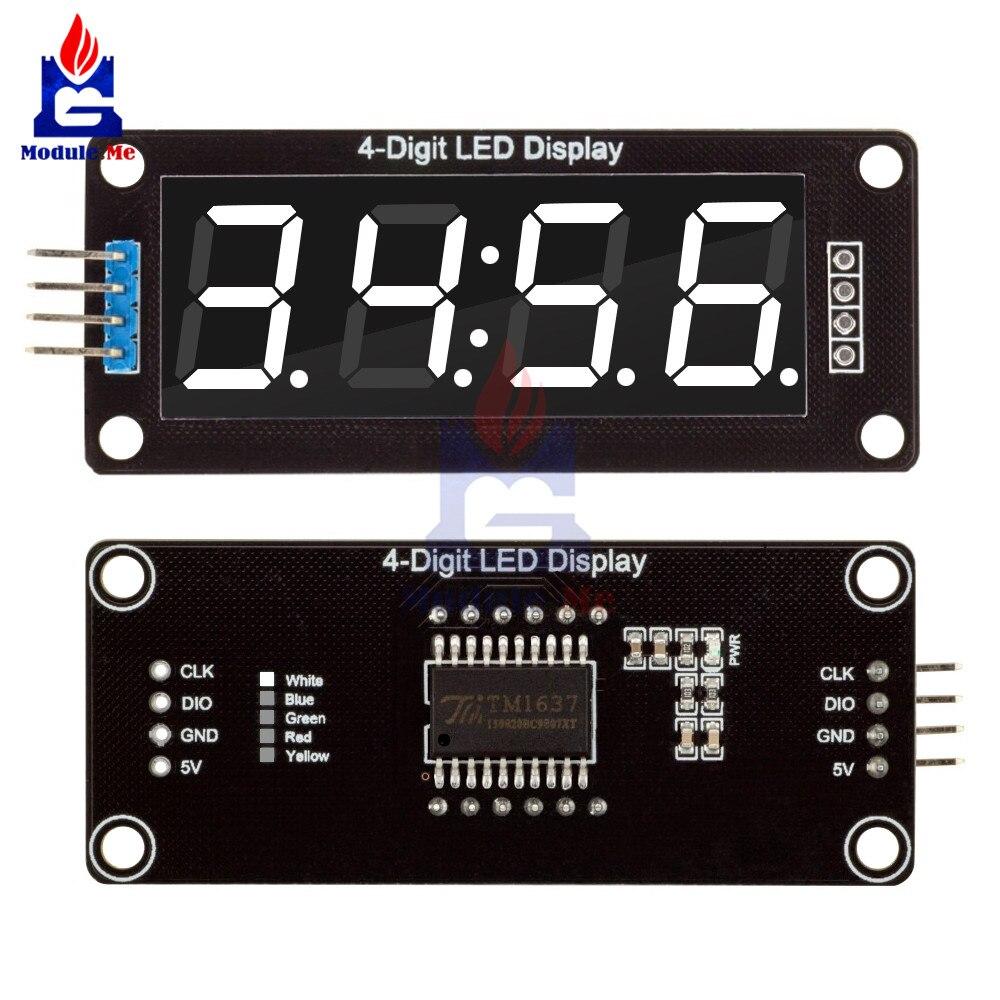 TM1637 4-Digit Digital LED 0.56 Tubo di Visualizzazione Decimale 7 Segmenti Orologio Doppio Dots Modulo Display da 0.56 pollici Bianco per Arduino