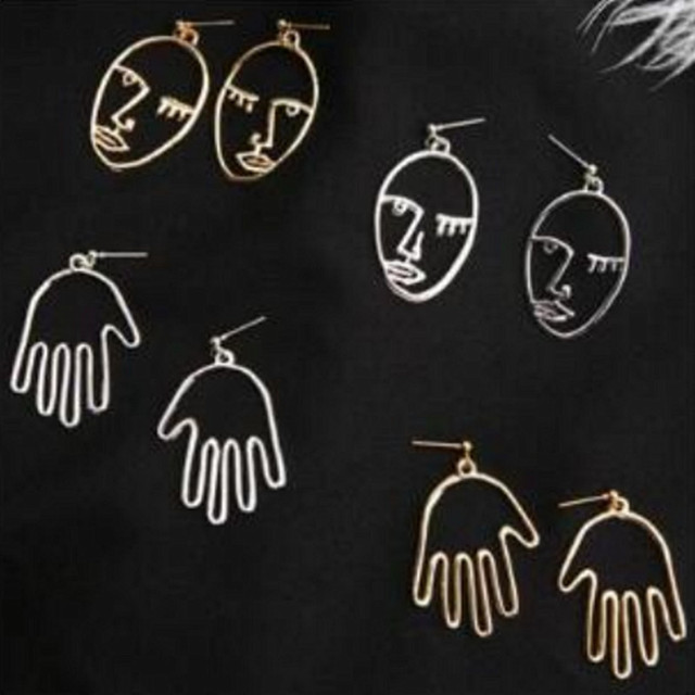 Hot popular Figure Face stud Earrings For Women Girls Fashion Gold Silver Statement Earring Exquisite jewelry Wholesale e0281