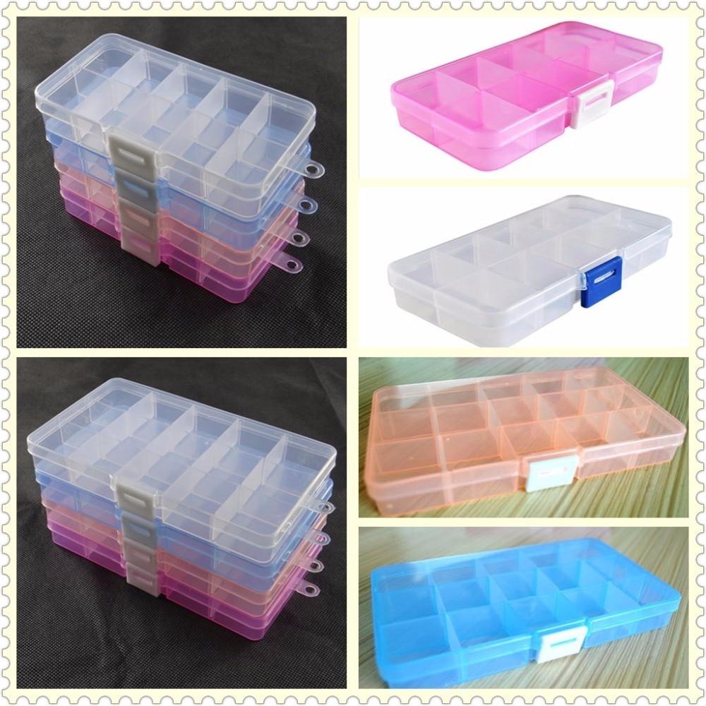 1 piece 10-grid OR 15-grid detachable pp storage box Jewelry bead Storage Box pill/ medicine box/case