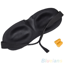 1PC Black Sleeping Eye Mask Blindfold with Earplugs Shade Travel Sleep Aid Cover Light Guide Wholesale 05A1