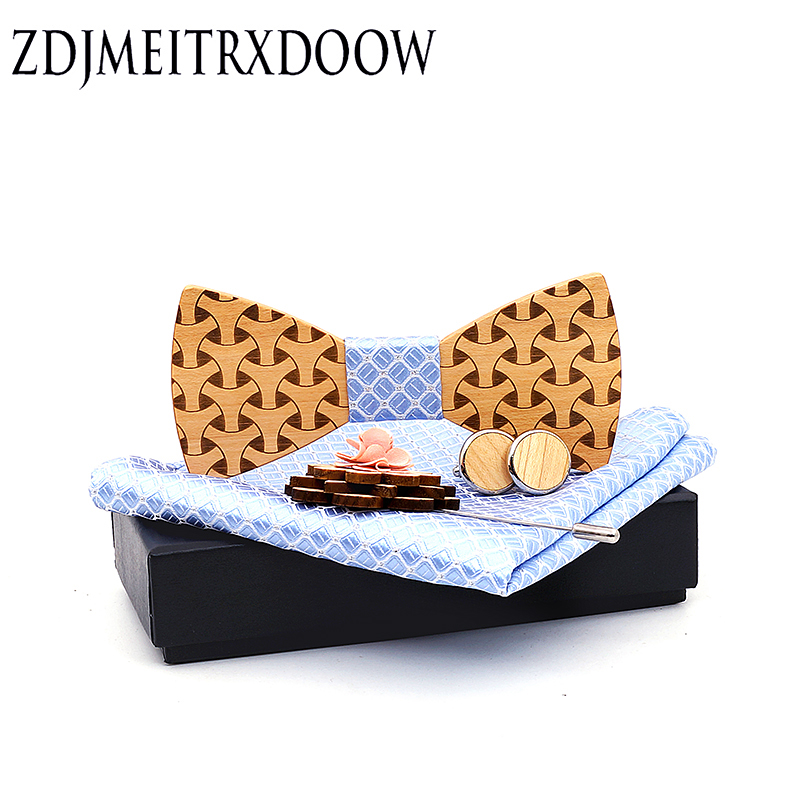 Fashion Original Wooden Bow Ties Gentleman Groom Wooden Necktie Butterfly Brooch Cufflinks Laser Engraving Wooden Tie For Man