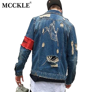 Image 3 - Hip Hop Men Jeans Jacket Coat Hole Patchwork Long Sleeve Hi Street Mens Jackets 2020 Autumn Washed Ribbon Male Streetwear Coats