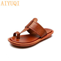 AIYUQI Beach slippers for women 2019 new women slippers flip flop genuine leather women summer shoes sandals flat open toe