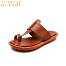 AIYUQI Beach slippers for women 2019 new flip flop genuine leather summer shoes sandals flat open toe