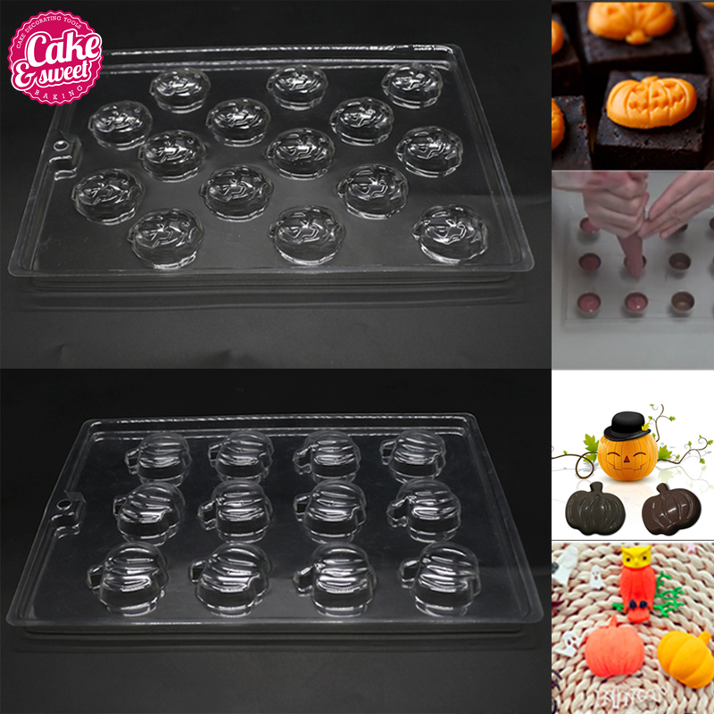 4Pcs Pumpkins Chocolate Mold (2pcs simple +2pcs Expression) Christmas DIY Candy Molds Baking Tray Baking Pastry Tools
