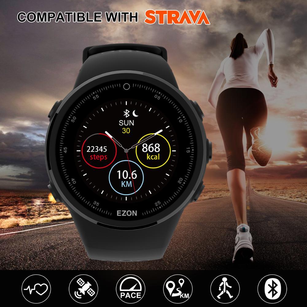 EZON T958 HD écran couleur optique fréquence cardiaque GPS Smartwatch Bluetooth Marathon course hommes montre pour Android IOS téléphone-in Montres sport from Montres    1