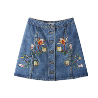 ISHINE 2017 New Jeans Denim Shorts Pants Cotton Casual Pattern Embroidery Mini Skirts Sexy Female Summer