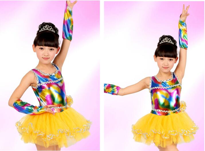 Free shipping Girl kids Latin Dance dress Rainbow Pink Yellow Stage Performance Suit 100cm-150cm