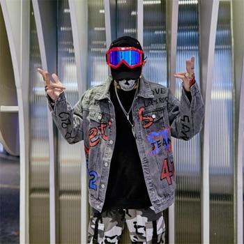 2019 New Letters Graffiti Jeans Jacket Men Fashion Denim Men's Jacket Hip Hop Jackets Loose Streetwear cowboy Clothing