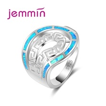 Jemmin Fine Jewelry Sterling Silver 925 Opal Rings For Women Wedding Engagement Proposal Blue Fire Finger Ring Bijoux Accessory